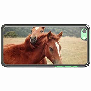 iPhone 5C Black Hardshell Case horse steam grass nature Desin Images Protector Back Cover