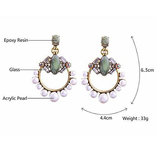 Di Perle Geometrici Sodial Grandi E Simulate Gioielli Generosi Freschi In Diamanti Orecchini Lega 155qz4a