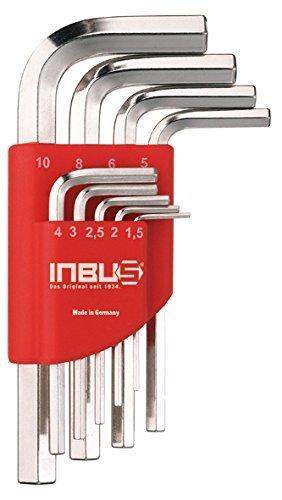 INBUS® 70150 Inbusschlüssel Set Kurz Metrisch 9tlg. 1,5-10mm   Made in Germany  Innensechskant-Schlüssel   Winkel-Schlüssel   1,5mm   2mm   2,5mm   3mm   4mm   5mm   6mm   8mm   10mm   Kurze Ausführung