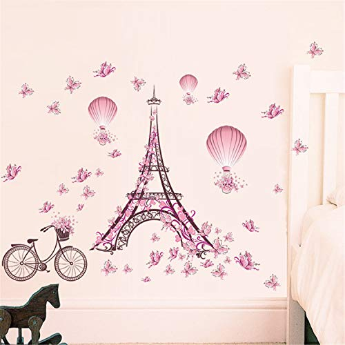 AdornHome-Sticker Paris Tower Pink Butterfly Living Room BedroomWallSticker Waterproof Removable, -