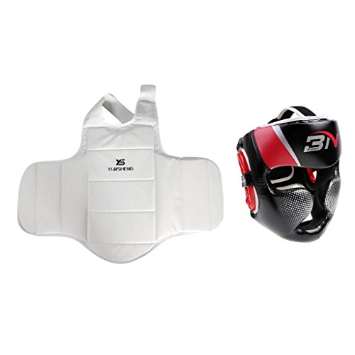 MagiDeal Boxing Protector Set Chest/Head Guard Helmet MMA Training Kickboxing Sports by MagiDeal