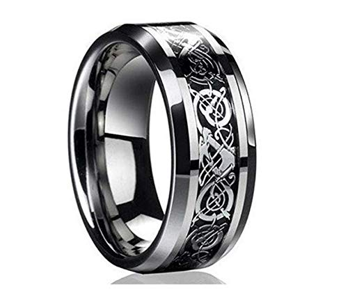 WoCoo Ring New Silver Celtic Dragon Titanium Stainless Steel Men's Wedding Band Rings,Great Chioce for Gift(Silver,Size 9)