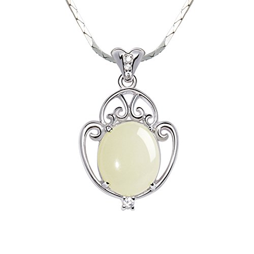 iSTONE 100% Natural China Gemstone White Nephrite Hetian Jade Pendant with 925 String Silver Necklace (Jade)