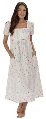 The 1 for U 100% Cotton Short Sleeve Nightgown with Pockets - Lara (Large, Vintage Rose)