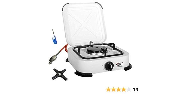 NJ Hornillo de gas 1 llama, hornillo de camping de 2,2 kW, con tapa, placa de cocina de gas + cruz de cocina de gas Phönix, incluye regulador de ...