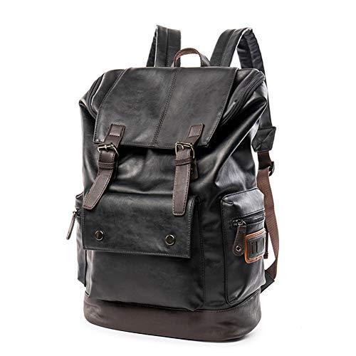 Men's Casual Bag Soft PU Leather Black Backpack Waterproof Business Casual Backpack Student Bag Travel Handbag from Jasooo