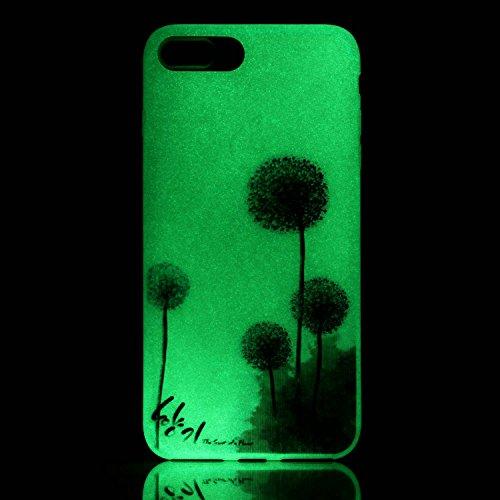 iPhone 7 / 8 Plus Hülle mit Fluoreszenz , Modisch Lila Löwenzahn Transparent TPU Silikon Schutz Handy Hülle Handytasche HandyHülle Etui Schale Schutzhülle Case Cover für Apple iPhone 7 / 8 Plus