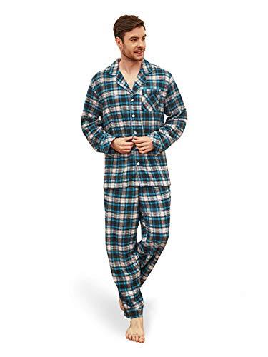 (SIORO Soft Pajamas for MenFlannel Cotton Plaid Plus Size Pajama Sets Long Sleeve Sleepwear Loungewear,Blue XL)