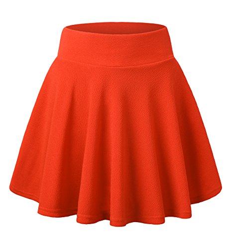Fille Femmes Elastique Court DJT Rtro Jupe Patineuse Orange Jupe Basique w4g1qFx