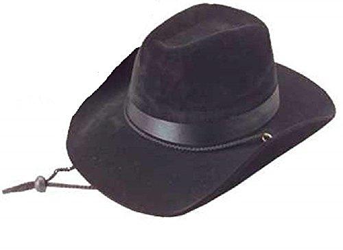 Novelty Treasures Handsome Lightweight Foam Felt Adult Size Black Cowboy Hat -