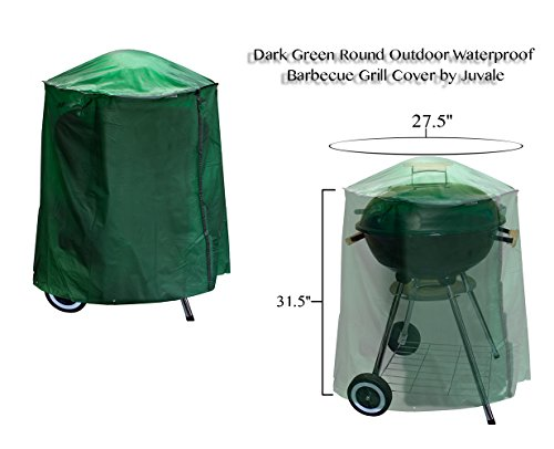 Juvale Dark Green, Round, Gas, BBQ Grill for Outdoor Patio with Waterproof Cover (27.5 x 31.5 inches)