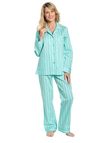 (Noble Mount Womens 100% Cotton Poplin Pajama Sleepwear Set - Stripes Aqua - Large)