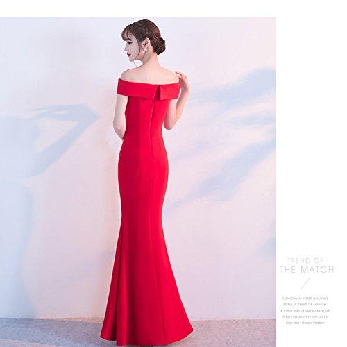Red Shoulder Slim Gown Built In Bra Dress Evening Women`s Off Floor cotyledon wqIHZXPA