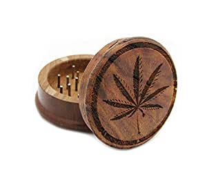 Two Piece Sativa Marijuana Leaf Laser Carved Wooden Herb, Spice or Tobacco Pollen Grinder