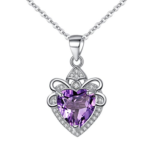 EleQueen 925 Sterling Silver Full Cubic Zirconia A Heart Full of Forever Love Pendant Necklace Amethyst Color
