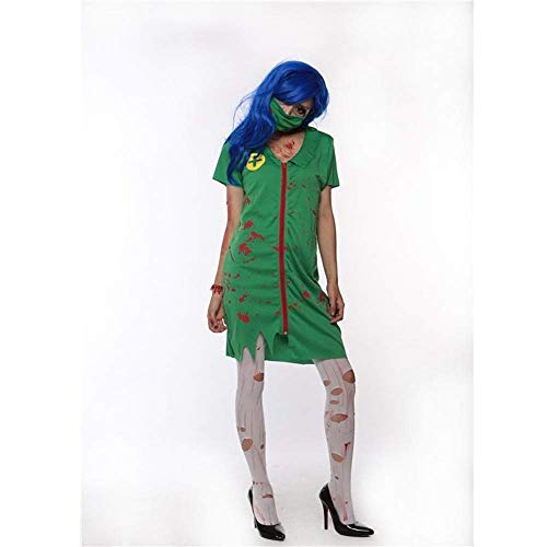 Fashion-Cos1 Halloween Bloody Nurse Costume Horror Zombie Dress Mask Nurse Uniform Dress Adult Ladies Fancy Dress Up -