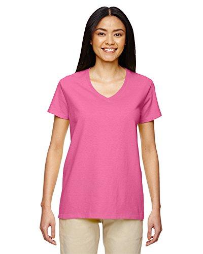 Gildan Heavy CottonTM Ladies' 5.3 oz. V-Neck T-Shirt, 3XL, AZALEA