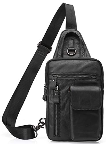 Tippnox Men's Leather Sling Bag Multipurpose Crossbody Shoulder Chest Daypack Backpacks Outdoor Travel Packs (Black)