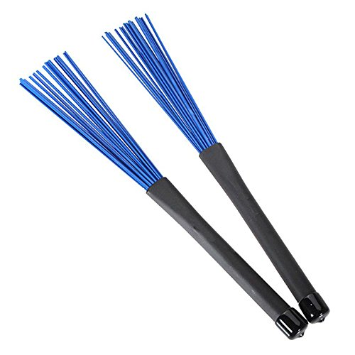 SODIAL(R) 1 Pair Retractable Black Handles Jazz Drum Brushes Sticks Blue Nylon 32cm 114846