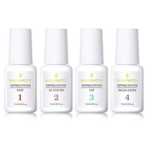 System Art Nail (BORN PRETTY 7ml Dipping Powder System Liquid Clear Nail Art Manicure Gel Polish No UV Lamp Needed(Set 4))