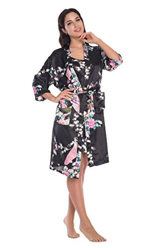 KimonoDeals Women's Gorgeous Loungewear Robe 2PC Sleepwear Set-Peacock & Blossom