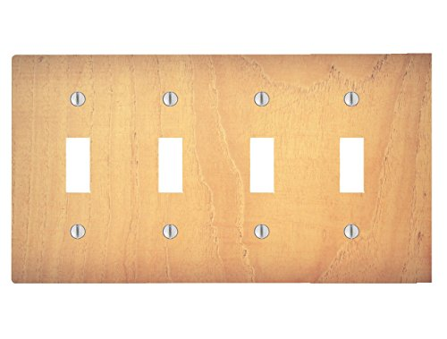 Wood Rustic Light Wooden Cedar Background Printed On a 4 Toggle Electrical Switch Wall Plate (8.38 x 4.69in)