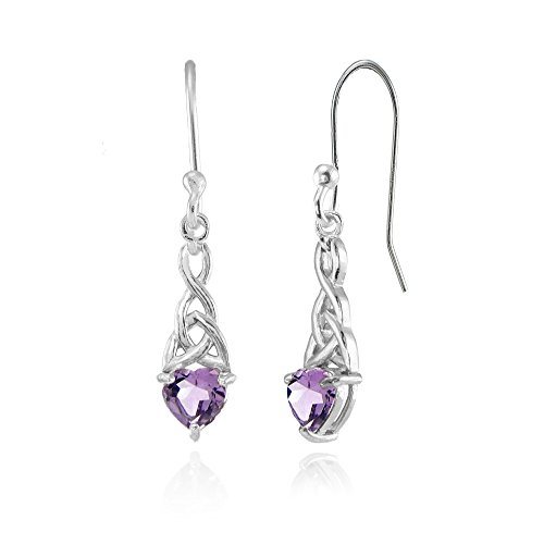 Celtic Earring - Sterling Silver Amethyst 6x6mm Dainty Heart Celtic Knot Dangle Earrings