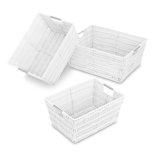 Whitmor Rattique Storage Baskets Set of 3 White