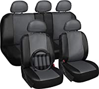 Motorup America Leather Auto Seat Cover Full Set - Fits Select Vehicles Car Truck Van SUV - Gray & Black