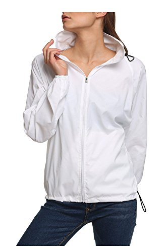 (LANBAOSI Women's Lightweight Jacket UV Protect+Quick Dry Windproof Skin Coat White Size M)