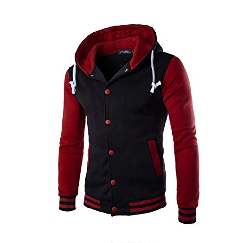 Price comparison product image Warm Hoodie Coat, Hemlock Men Winter Slim Jacket Button Outwear Hooded Sweatshirt (L,  Red)