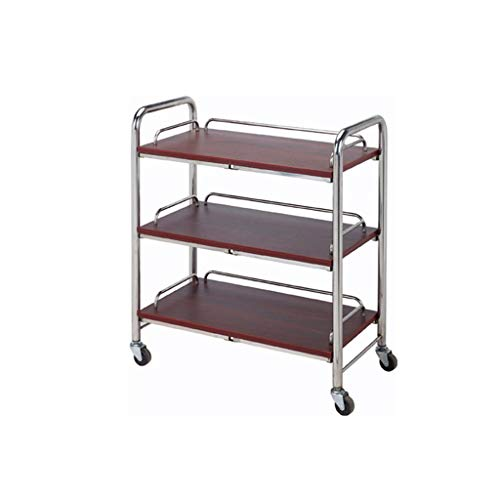 - SunHai Three-Tier Service Trolley, Luxurious Bar/Hotel Stainless Steel + Solid Wood Roller Trolley, Mobile Wine Cart (Size : B-653575CM)
