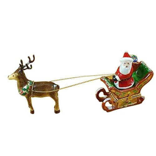 SANTA IN SLEIGH W/REINDEER - LIMOGES BOX AUTHENTIC PORCELAIN FIGURINE FROM FRANCE