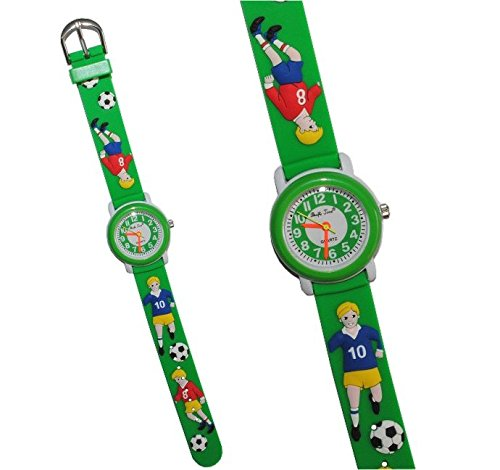 Armbanduhr kinder  3-D Kinderuhr Fußball - Uhr Kinder Armbanduhr Silikon Jungen ...