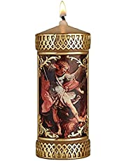 Hand Crafted St Michael The Archangel Catholic Prayer Candle, Unscented Decorative Candles for Devotional, Religious Gifts for Christian Families, 4.75 Inches