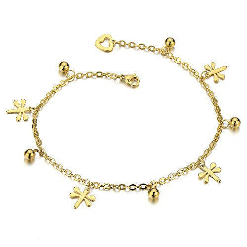 COOLSTEELANDBEYOND Stainless Steel Gold Color Anklet Bracelet with Dangling Charms of Dragonflies (Dragonfly Dangling Bracelet)