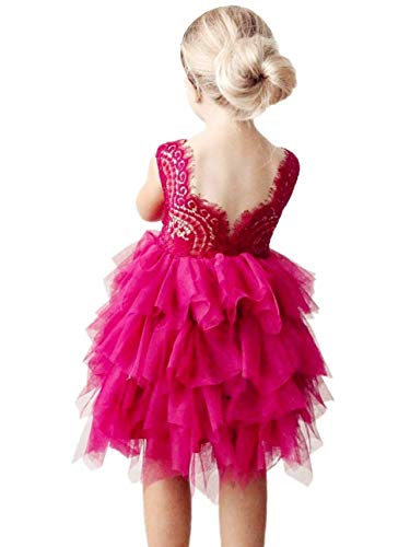 2Bunnies Girl Beaded Peony Lace Back A-Line Tiered Tutu Tulle Flower Girl Dress (Fuchsia Pink, 5)