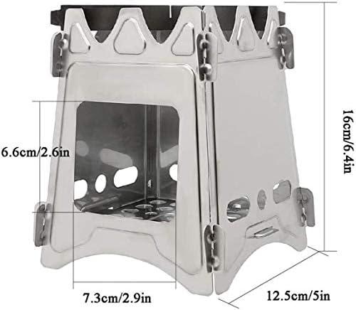 Barbecue HZY Portable en Acier Inoxydable Charcoalf Rack, Camping, randonnée pédestre, pêche, 12.5cm * 12.5cm * 16cm