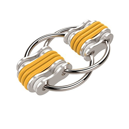 Flippy Chain Fidget Toy Stress Reducer for Anxiety and Autism Yellow Blue 2.28x1.5IN