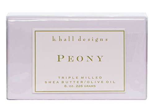 k..hall designs Peony Bar Soap Triple Milled Shea Butter Olive Oil Bar