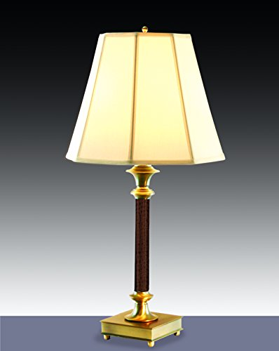 Microsun Library of Congress Table Lamp with Octagonal Silk Shade in Soft White (Chestnut Faux (Octagonal Lamp Table)