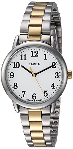 Timex Women's TW2R23900 Easy Reader Two-Tone/White Stainless Steel Bracelet Watch Analog Stainless Steel Bracelet
