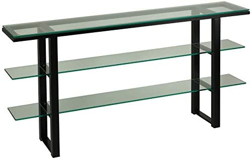 Cortesi Home Rozo Contemporary Three Tier Glass Console Table, Black