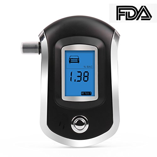 Breathalyzer, Breath Alcohol Tester, Digital Battery Power Alcohol Detector, BAC Tracker with Mini Blow Pipe and LCD Display (Black)