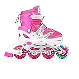 Tuko Kids Adjustable Roller Skates Girl Blades Illuminating Inline Skates(Small-Little Kid(12-1 US))