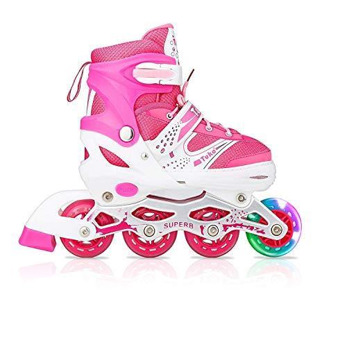 Tuko Kids Adjustable Roller Skates Girl Blades Illuminating Inline Skates(Medium-Big Kid(2-4 US)) ()