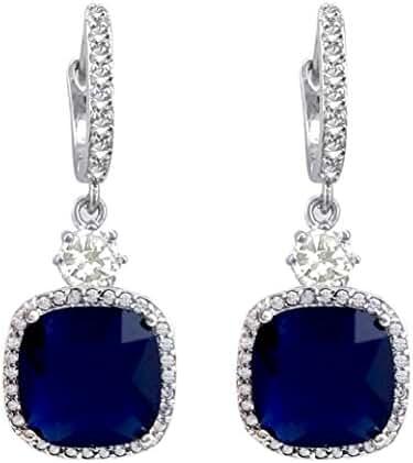 SELOVO Full CZ Square Shape Royal Blue Hoop Dangle Earrings Silver Tone