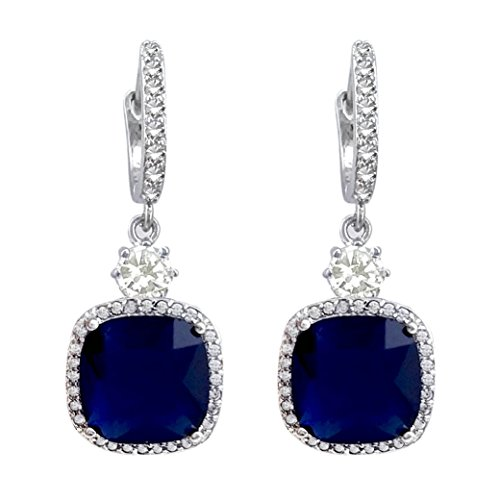 e Shape Royal Blue Hoop Dangle Earrings Silver Tone ()
