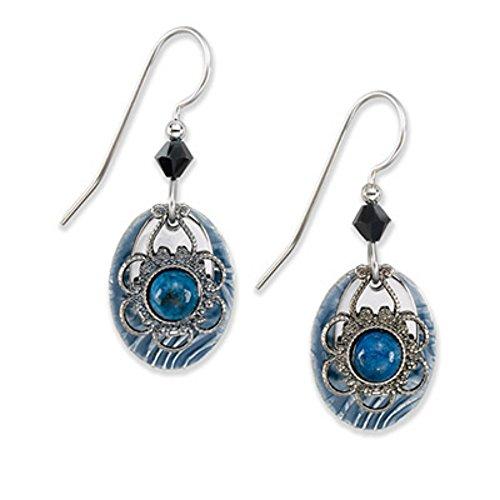 Silver Forest Earrings - silver floral denim (Denim Lapis Ring)