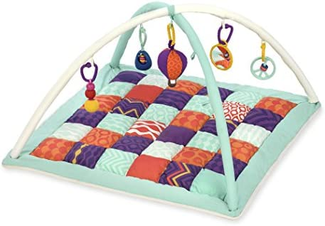 B. toys by Battat Wonders Above Activity Quilt Baby Play Mat Gym with 5 Hanging Toys for Newborns